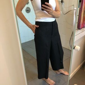 Kate Spade Black Flat-front cropped wide leg pant